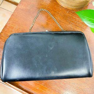 Vintage Purse Clutch 40s Black Leather